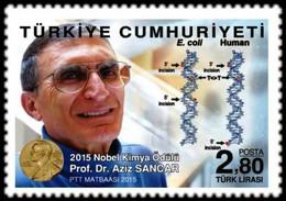 Turkey 2015 1 V  MNH   NOBEL PRİZE İN CHEMİSTRY PROF. DR  Aziz Sancar - Chemistry