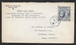 Canada - 1947 Alexander Graham Bell FDC - Brantford Ont. Pmk - Cartas