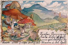 Zwerg Unter Pilzen (August Schweiss, Freiburg). - Andere Zeichner