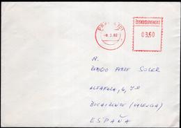 Tchécoslovaquie - 1982 - Lettre - Cachet Spécial - Affranchissement Mécanique - Via Air Mail - A1RR2 - Cartas