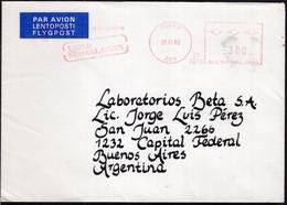 Finland - 1989 - Lettre - Cachet Spécial - Affranchissement Mécanique - Envoyé En Argentina - A1RR2 - Cartas