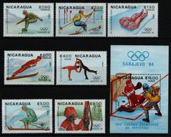Nicaragua 1983 - Mi-Nr. 2417-2423 & Block 153 ** - MNH - Olympia Sarajevo - Nicaragua