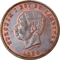 Monnaie, Cambodge, 10 Centimes, 1860, SUP+, Bronze, KM:M3, Lecompte:23 - Cambodia