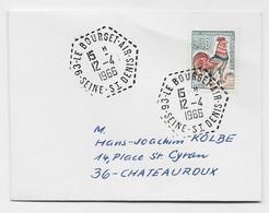 COQ  30C MIGNONNETTE C. HEX PERLE 93 LE BOURGET AIR 12.4.1965 SEINE ST DENIS - Posta Aerea