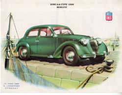 < Automobile Auto Voiture Car >> Publicité Folder Feuille 2p. Simca 8 Type 1200 Berline, Cabriolet, Coupé, Hollande - Cars