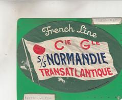 FRENCH LINE CIE NORMANDIE TRANSATLANTIQUE Etiquette - Hotel Labels