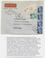GANDON 12FR BLEU 6FR CFA REUNION BANDE 4 +2FR EMERAUDE LETTRE REC AVION ST PIERRE 21.11.1949 POUR MONTE CARLO - 1945-54 Maríanne De Gandon