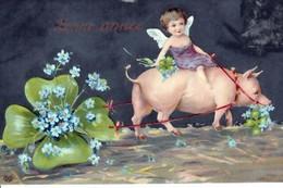 """"""" BONNE  ANNÉE  """"   ANGELOT ,  COCHON, TRÈFLES &  MYOSOTIS  - CPA GAUFRÉE  - ( 21 / 2 / 163  ) - New Year"""
