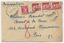 GANDON 6FR N°721A BANDE DE 3+ N°676 PNEUMATIQUE PARIS PARIS 31 12.5.1948  AU TARIF - 1945-54 Marianne Of Gandon