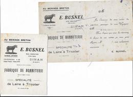 Avis De Passage BUSNEL Fabrique De Bonneterie Rue Deroyer DINAN Sur Un Buvard Et La Moitié D'un Autre - V