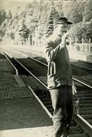 Gare De La Reid, Marteau Belle Photo D'un Cheminot - Theux