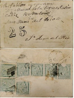 A) 1873, SPAIN, FROM SANTANDER TO SAN JUAN DEL RIO-MEXICO, CANCELLED 25, ALLEGORY OF THE SEATED FIGURE OF SPAIN STAMPS - Cartas