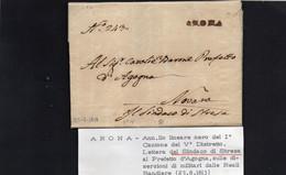 CG8 - Lettera Del Sindaco Di Stresa Per Novara 23/8/1813 - Annullo Di Arona - 1. ...-1850 Prefilatelia