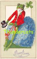CPA EN RELIEF GAUFREE GRENOUILLE EMBOSSED CARD FROG KIKKER FROSCH - Sonstige