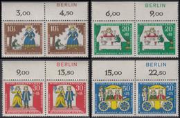 !a! BERLIN 1966 Mi. 295-298 MNH SET Of 4 Horiz.PAIRS W/ Top Margins -Fairy Tales Of Brothers Grimm: Frog King - Ongebruikt