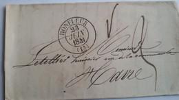 CALVADOS - LSC  Avec Cachet T 13 De Honfleur Du 23/06/1841 Pour Le Havre  - 2 Photos - 1801-1848: Precursori XIX
