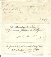 -  Trois Autographes Sur Fragments Papier Du .Baron STOFFEL, MAC MAHON Et Du Comte De PALIKAO - Handtekening