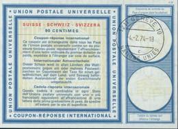 Coupon Réponse International UPU Suisse 90 Cts CAD 1211 Genève 10 Nations Unies 4 2 74 - 18 C - Cartas