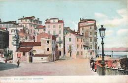 Grece Corfou Rue Arsene Aux Murailles Cpa Carte Colorisée - Grecia