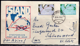 ISLANDA ICELAND ISLANDE 1962 SUBMARINE TELEPHONE CABLE INAUGURATION COMPLETE SET SERIE FDC - FDC