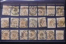 BELGIQUE - Lot De 21 Valeurs Chiffres 5ct , Période 1870/80, Idéal Pour étude D'oblitérations, Nuances Etc - L 88550 - 1869-1883 Leopold II