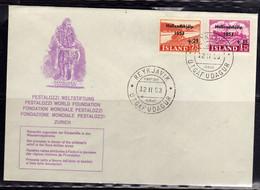 ISLANDA ICELAND ISLANDE 1953 PESTALOZZI OVERPRINTED SURTAX FOR FLOOD RELIEF IN THE NETHERLANDS COMPLETE SET SERIE FDC - FDC
