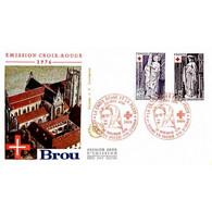FDC JF - Croix-Rouge - Sculptures De L'Eglise De Brou - 20/11/1976 - 1970-1979