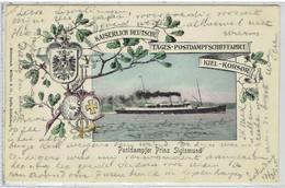 POSTDAMPFER PRINZ SIGISMUND - Postdampfschiffart Kiel - Korsør - Stempel Kiel - Korsør N° 4 - Piroscafi