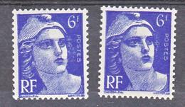 France  720a Variété Mèches Reliées Et Normal Marianne Neuf ** TB MNH Sin Charnela Cote 28 - Varietà: 1945-49 Nuovi