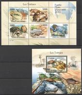 UC213 2011 UNION DES COMORES FAUNA REPTILES TURTLES LES TORTUES 1KB+1BL MNH - Schildkröten