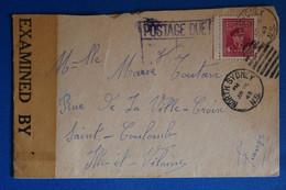 K10 CANADA BELLE LETTRE CENSUREE RARE  1945 NOTH SYDNEY POUR SAINT COLOMBE FRANCE +AFFRANCH. PLAISANT - Cartas