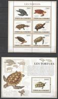 UC051 2009 UNION DES COMORES FAUNA MARINE LIFE SEA TURTLES LES TORTUES 1KB+1BL MNH - Schildkröten