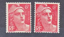 France  721a Variété Mèches Reliées Et Normal Marianne Neuf ** TB MNH Sin Charnela Cote 28 - Varietà: 1945-49 Nuovi