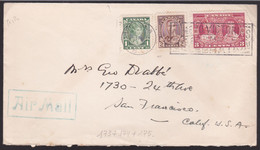 Lettre - CANADA - Air Mail - Timbres 173 - 174 - 175 - Dos: Carte Vancouver Island / Map Of Vancouver Island - Cartas