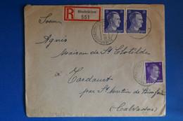 K10 ALLEMAGNE  LETTRE  CENSUREE RECOM. 1942 BLIESBRUCKEN POUR CALVADOS FRANCE +AFFRANCH. PLAISANT - Brieven En Documenten