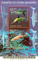 BRAZIL #3001  -  SHARKS OF THE BRAZILIAN COAST -  MINI SHEET 2v - 2006 - Neufs