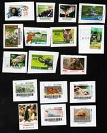 BRD - Privatpost  - Lot Tiere Auf Marken (Affen, Schmetterlinge, Elefanten, Vögel, Lurche) - Sonstige