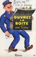 Carte à Système: Boum! V'la Le Facteur - Ouvrez La Boite Et Vous Serez Reims, Multivues - Carte Gaby N° 74 Non Circulée - Mechanical