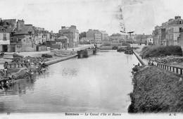 RENNES - Le Canal D'Ile Et Rance - Lavandières - Péniches - Travaux - Carte Précurseur - Rennes
