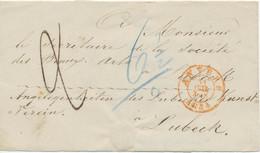 "BELGIEN 1854 Taxe ""6 1/2"" A. Zeitungsschleife Von ""ANVERS"" N. LÜBECK KUNSTVEREIN - Non Classificati"
