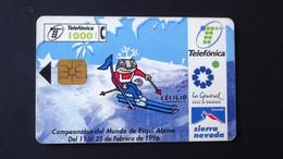 Spain - 1996 - 01/96 - 1000 Pta - Mar:CP-077 - Campeonato Mundial Esqui (granada-96) - Used - Look Scans - Conmemorativas Y Publicitarias