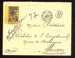 Sénégal N°43, 75c Palmier, OBL Dakar (1915) Seul Sur Lettre Recommandée Pour Alençon. TB - Storia Postale