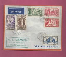 Lettre De 1937 Pour La France. YT N° 66 à 71 - Exposition Internationale De Paris - Storia Postale