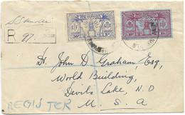 1937 NOUVELLES HEBRIDES LETTRE AVEC CACHET DE RECOMMANDATION SANTO ET OBL INTERISLAND SERVICE POUR LES USA - Storia Postale