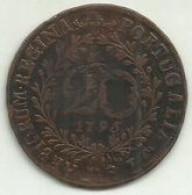 20 Réis 1795 D. Maria I Portugal/Açores (Recunhada) - Azores