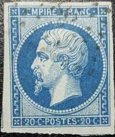 N°14Ac. Napoléon 20c Bleu Roi Clair S Papier Bleuté (nuancier N°27). Oblitéré Losange PC. - 1853-1860 Napoléon III
