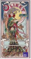 Biscuits Olibet - Chromo 1900s Art Nouveau Style Mucha - Femme Robe Et Plumes De Paon Léopold Verger Jugendstil D2-344 - Otros