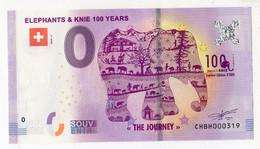 2020-2 BILLET TOURISTIQUE SUISSE 0 EURO SOUVENIR N°CHBH000319 ELEPHANTS & KNIE 100 YEARS - Privéproeven