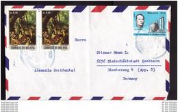 BOLIVIEN BOLIVIA LA BOLIVIE Brief Cover Lettre 833 (Paar) 835 (4er) + Zuschlag 30 - Gemälde Kunst (2 Scan)(11088) - Bolivia