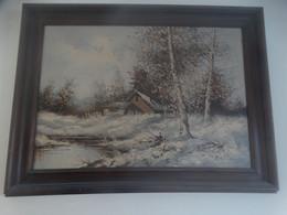 Paysage D'hiver - Tableau Signé. - Acrilicos